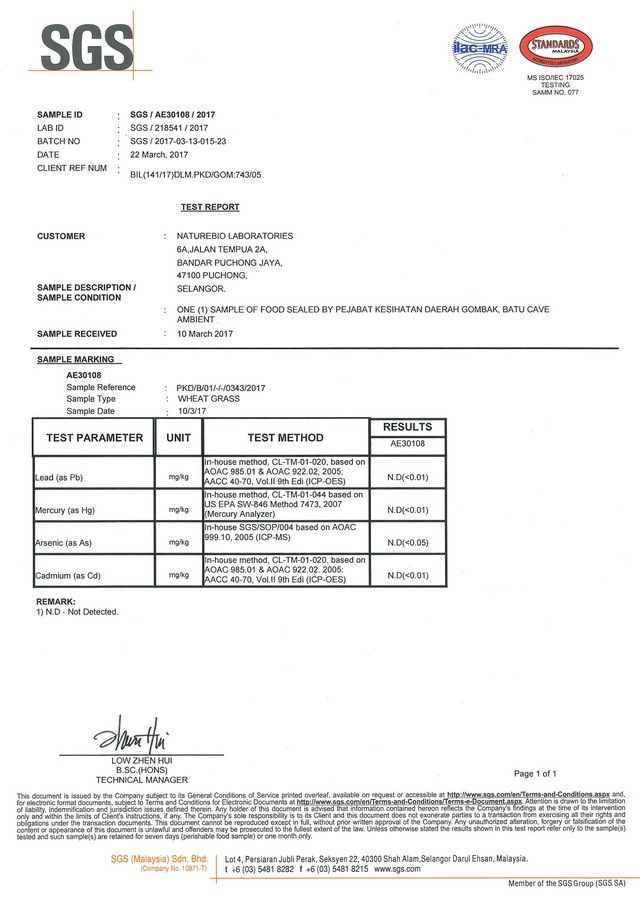 WHEATGRASS TEST Report